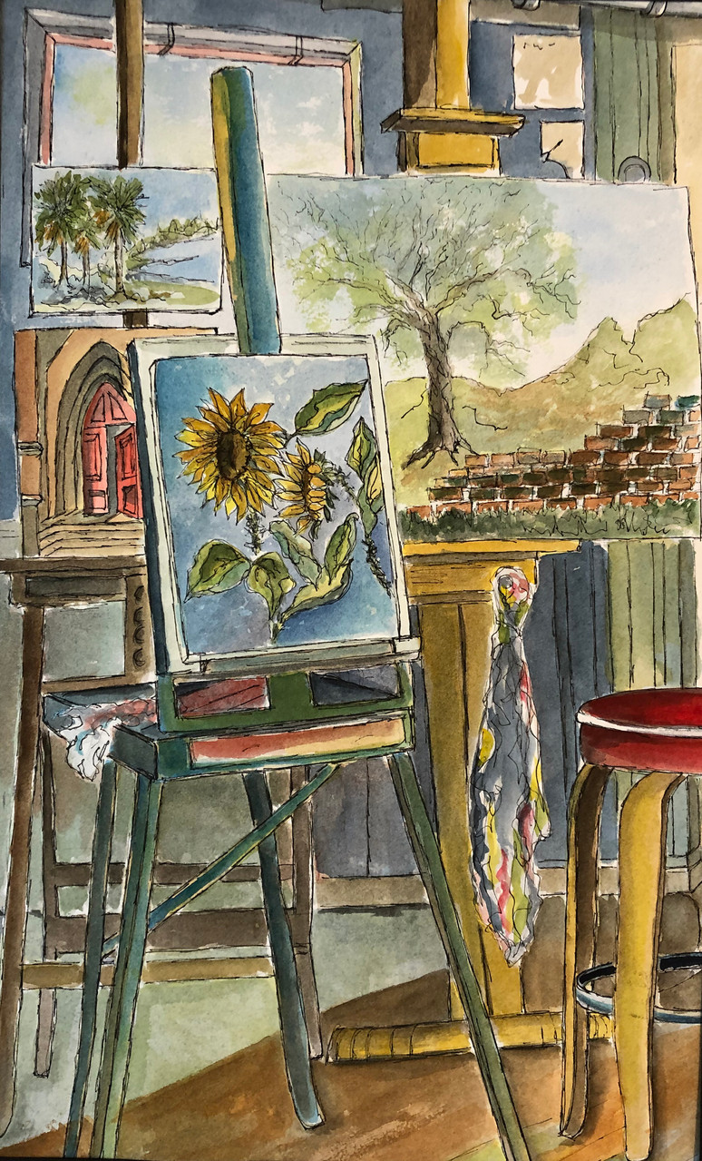 Sunflowers_in_an_Artist's_Studio_by_Dian