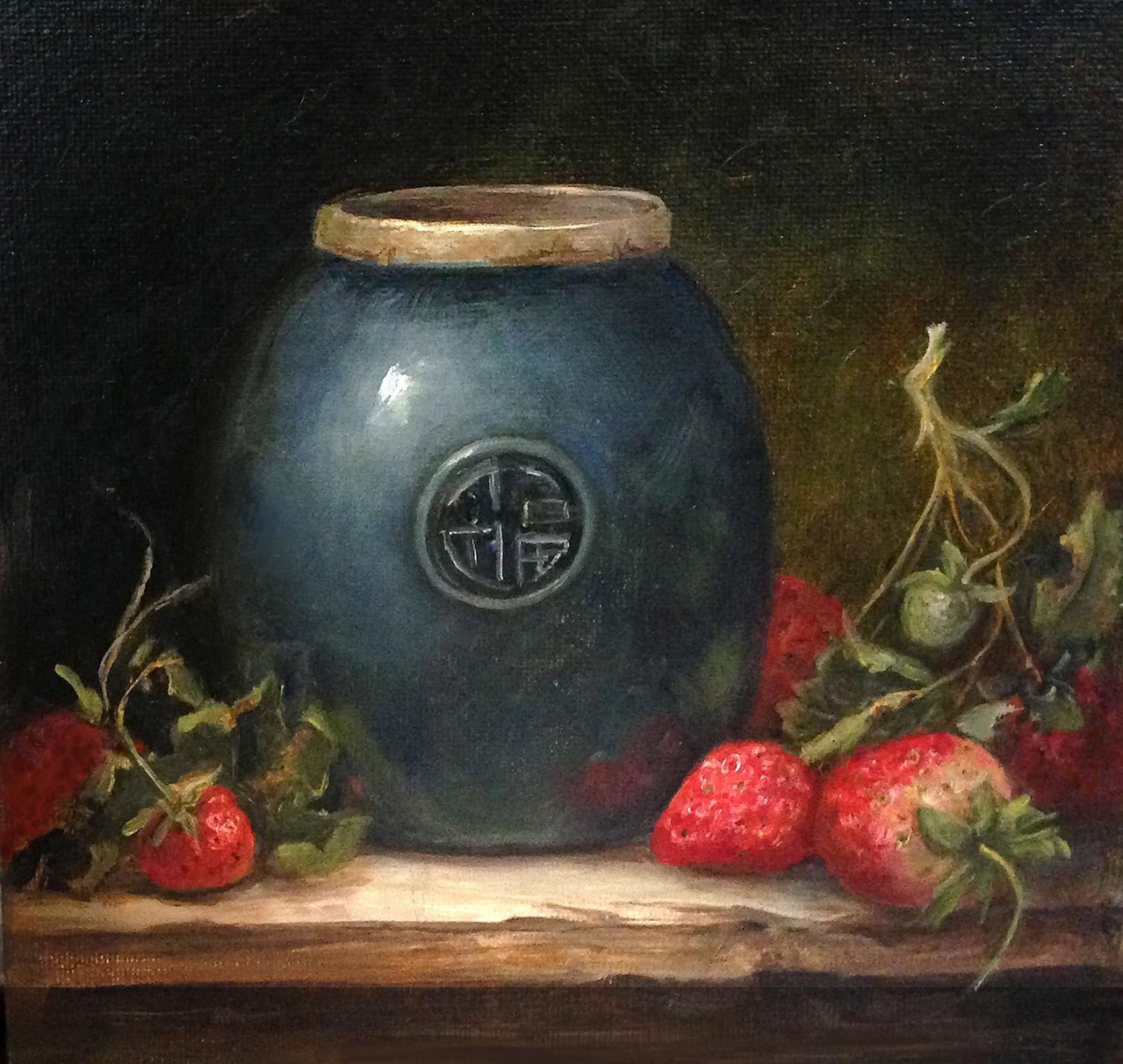 8 x 8 oil Blue Jar and Strawberries