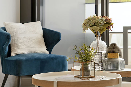 interior design airdrie calgary blue chair