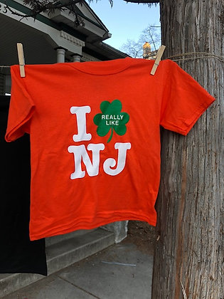I Really Like NJ Irish Orange Youth Tee