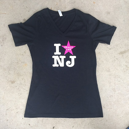 I Really Like NJ Ladies Black Tee Shirt