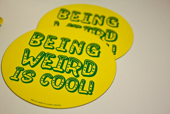 "Two ""Being Weird is Cool"" Car Magnets"