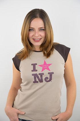 "Tan ""I Really Like NJ"" Fitted Raglan Tee"
