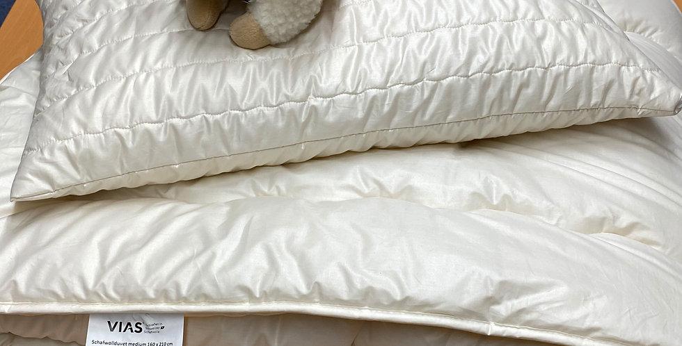 Schafwoll Duvet und Kissen
