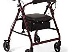 Burgundy Medline Walker with Seat and Storage Bin- 6 inch wheels