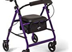 Purple Medline Rollator Walker with Seat and storae bin- 6 inch wheels