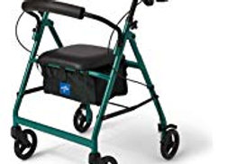 Green Medline Walker with Seat and Storage Bin- 6 inch wheels
