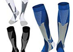 3 Pair Medical and Athletic 20-30 mmhg Compression Socks For Men and Women (Grea