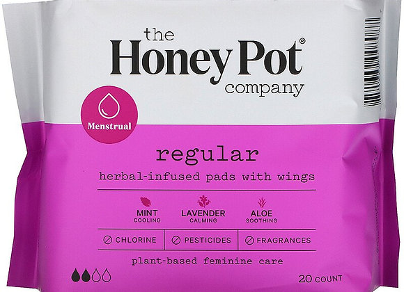 The Honey Pot Company, Herbal-Infused Pads with Wings- Regular (20 Count)