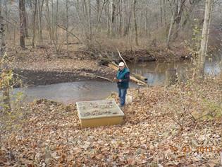 Bob Hedin examines discharge into creek.
