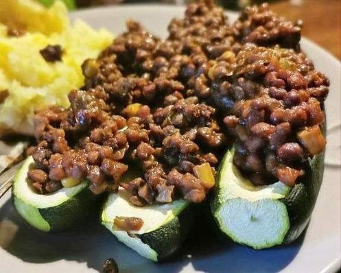 BBQ Beans and Courgette boats