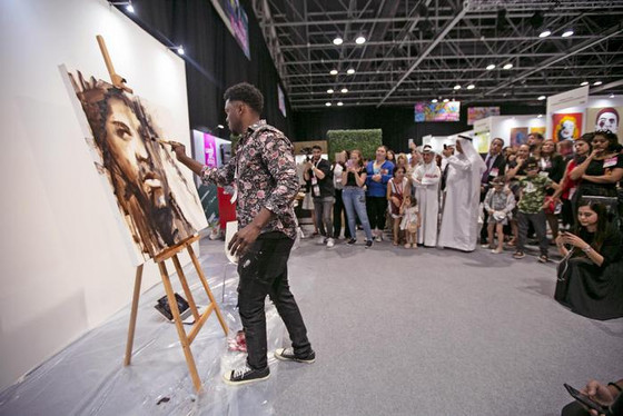 Speed Painting With Victor Sitali at World Art Dubai 3-6 April 2019