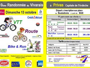 Dimanche 13 octobre, la 10° Randonnée du Vivarais