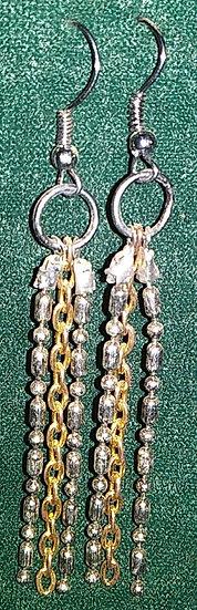 Glass Bead Look Chain Earrings