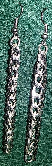 Silver & Black Chain Earrings