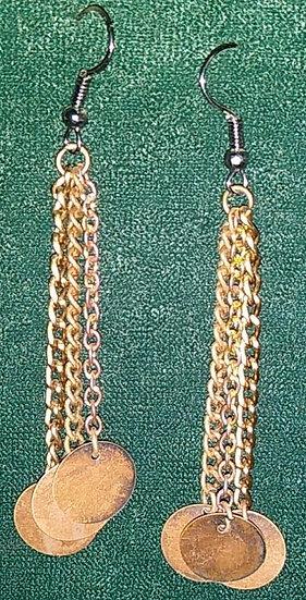 Copper Disc/Chain Earrings