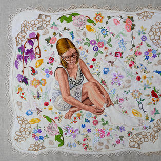 Self portrait as work in progress, 2020, hand embroidery with found embroidery appliqued on linen, 90 x 90 cm