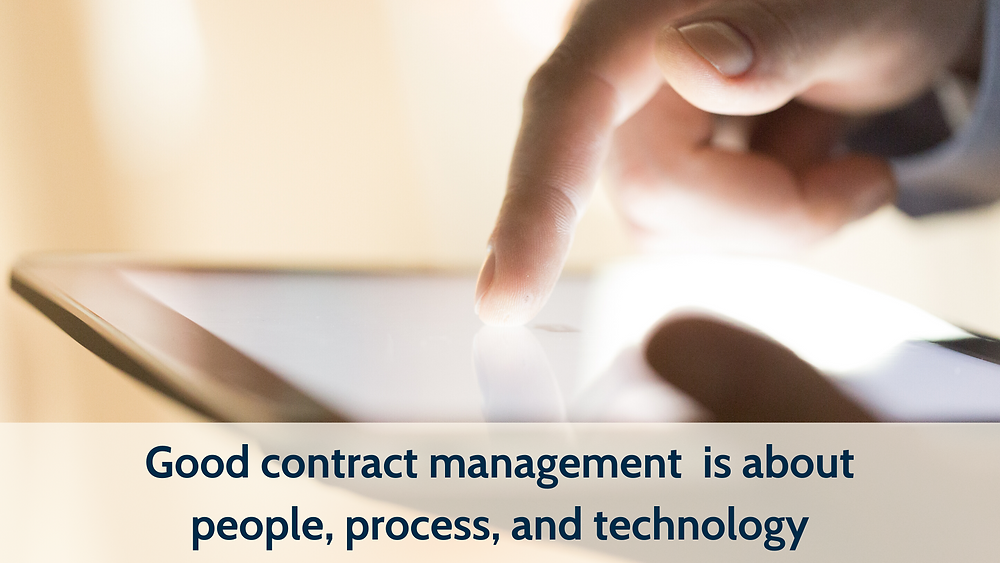 "Close up image of someone using an iPad or tablet. Captioned ""Good contract management is about people, process, and technology."""