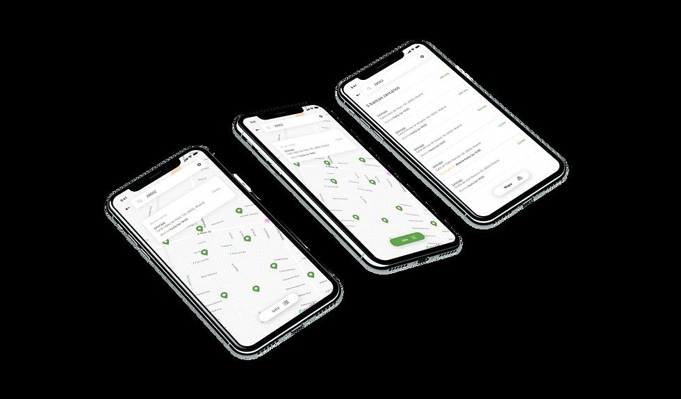 tres-pantallas-aplicación-movil-mapas