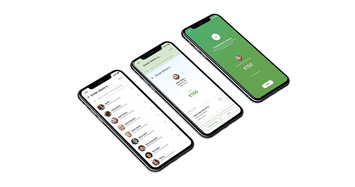 tres-pantallas-aplicación-movil-realizar-transferencia-bancaria