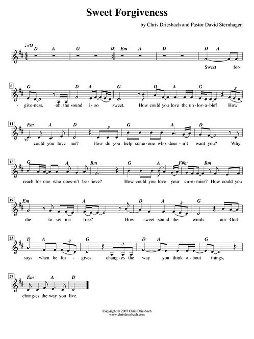 Sweet Forgiveness (guitar lead sheet)