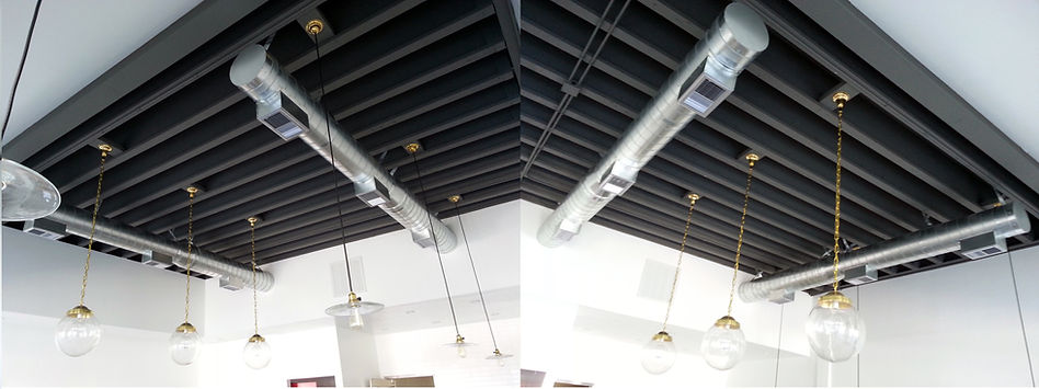 Open Ceiling Design With Exposed Spiral Duct Work For The AC