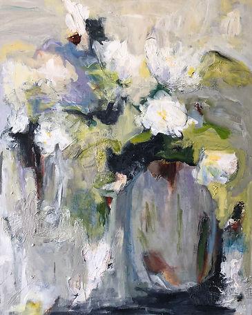 White Flowers in Vase_30x24_mixed media