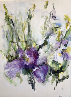 Carol's Iris 32x24 Mixed media on canvas - Joanne Nelson Art Toronto