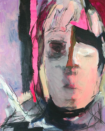Pink Stripe_20x16_mixed media on canvas_