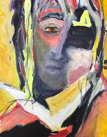 Yellow Stripe_20x16_mixed media on canva