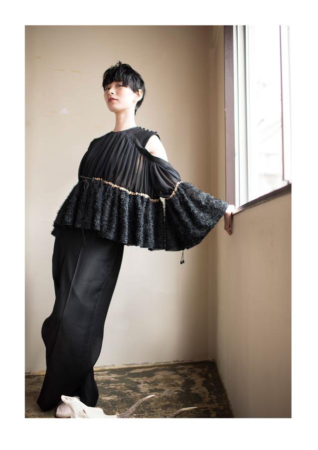 cut jacquard no sleeve tops & rayon linen pants