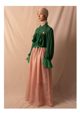 cupro blouse / long skirt