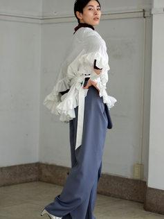 velvet cutsew/frill blouse/pants