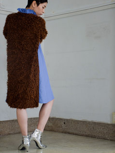 vintage fur mix dress