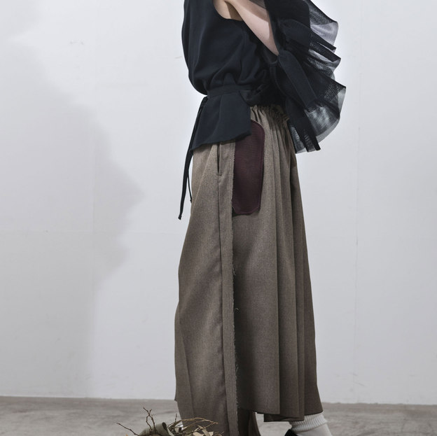 double mouton jersey tops/twil skirt pants