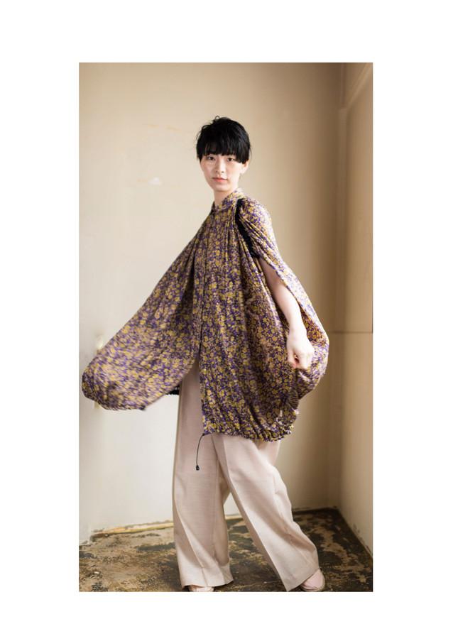 flower chiffon cut blouse & rayon linen pants