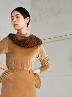 short bolero/velvet cutsew/skirt