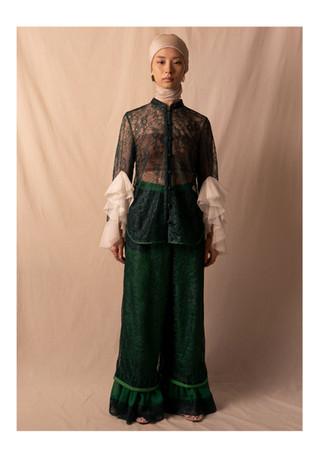 ruffle lace blouse / lace pants
