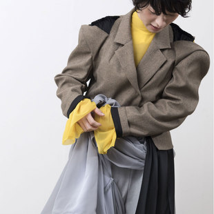 espandy knit/twill JK/monaluce chiffon pants