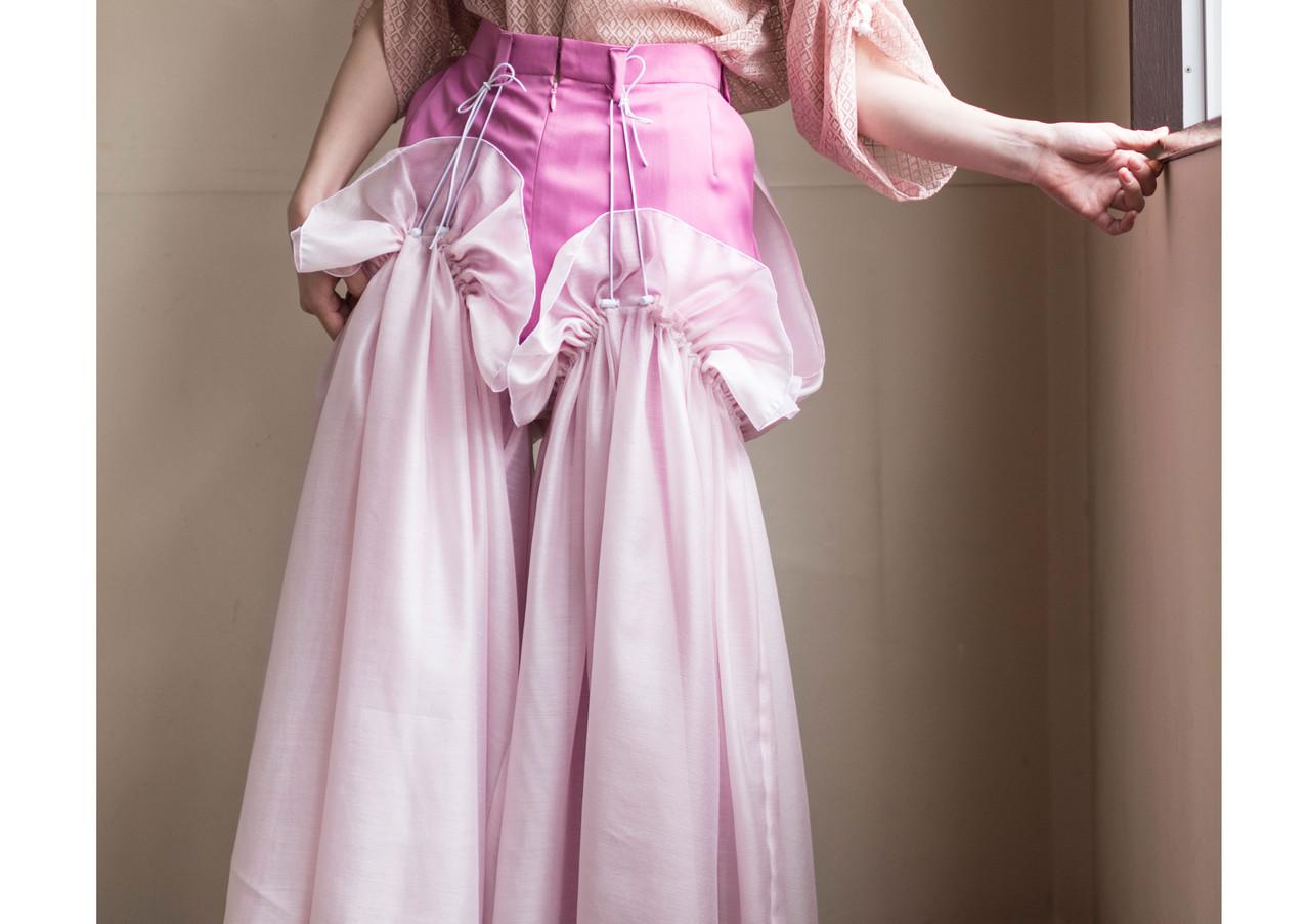 raschel  lace blouse & aero  satin dress pants