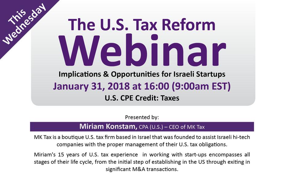 Complimentary Webinar - U.S. Tax Reform