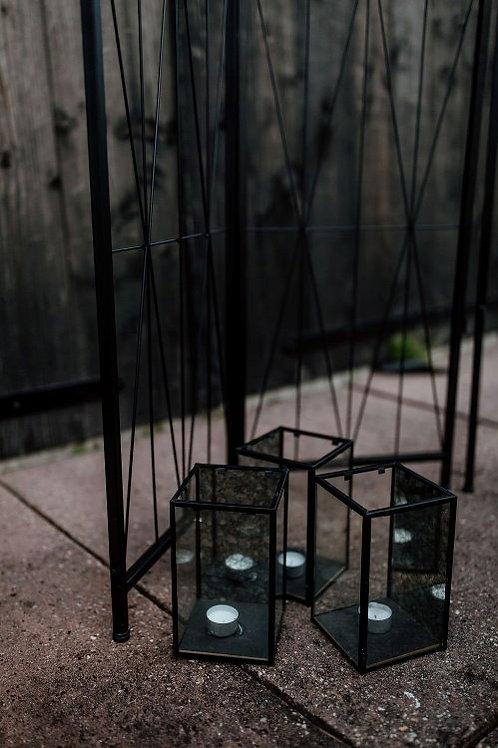 Waxinehouders glas zwart