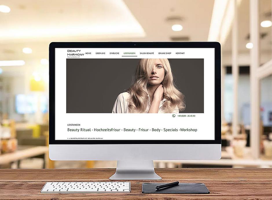Webseite für Friseursalon und Kosmetiksalon aus München
