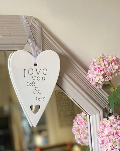 Hanging Ceramic Love You Lots Heart