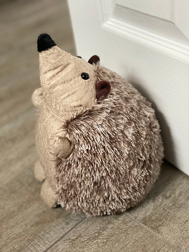 Cream Faux Leather Hedgehog Doorstop