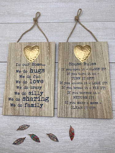 Pair of Metal Heart Home Plaques