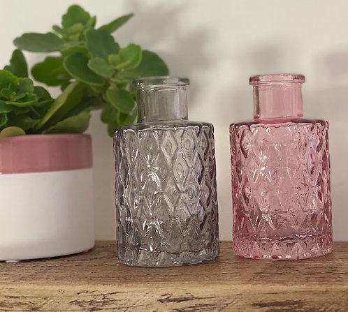 Grey Diamond Ridge Mini Glass Bottle
