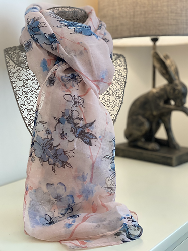 Light Pink Floral Scarf