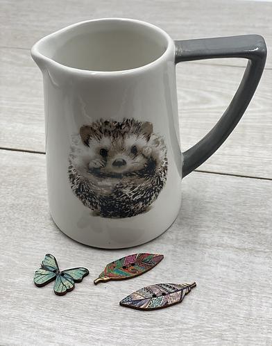 Petite Grey & White Hedgehog Jug