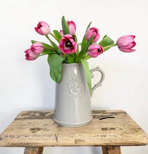 Grey Fleur De Lis Ceramic Jug